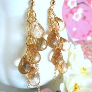Sun kissed mystic quartz cluster tassel earrings